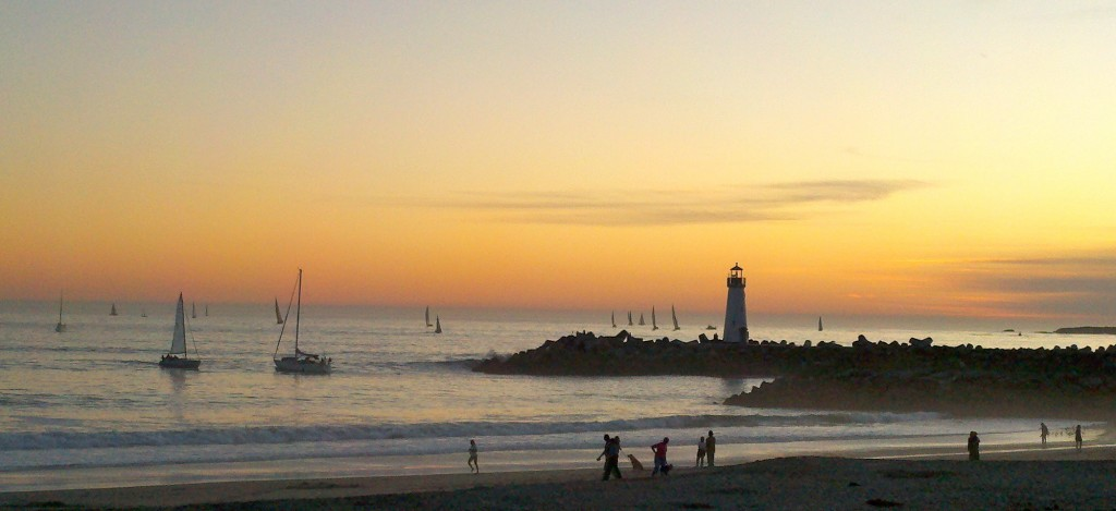 """image of Santa Cruz Lighthouse at Dusk"""