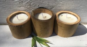 Image of candles made from bamboo