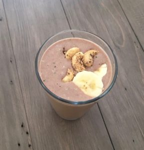 image of chocolate peanut butter protein shake